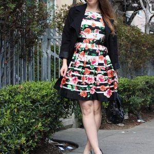 Saks Fifth Avenue RED Floral Stripe Dress